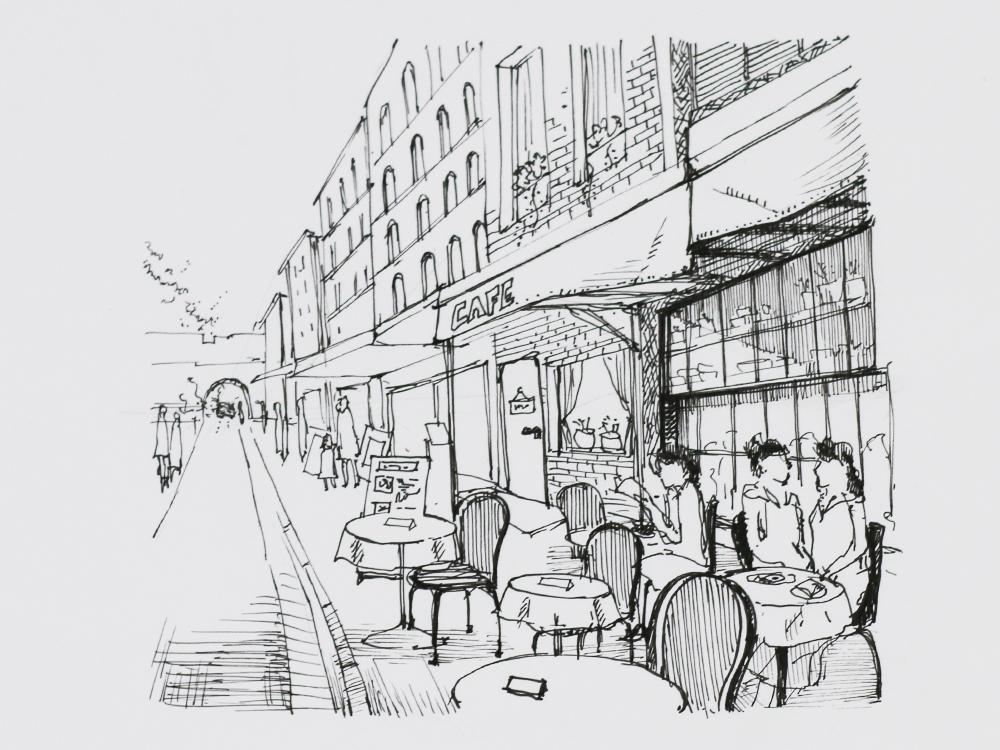 街角のカフェの描き方 インク Artlessons アートレッスン